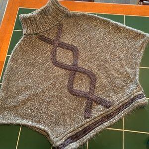 Sweaters - Gray Turtleneck Poncho Sweater BCBGirls